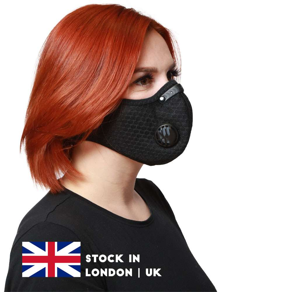 Black Dustproof Cycling Face Masks With Filter Half Face Carbon