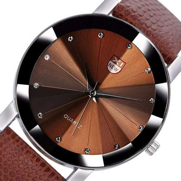 Men Stainless Steel Quartz Military Sport Leather Band Dial Wrist Watch